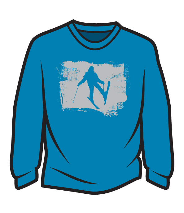 Blue Skier Design 2 Long Sleeve T-Shirt