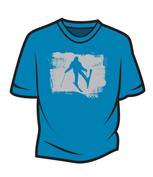 Blue Skier Design 2 T-Shirt
