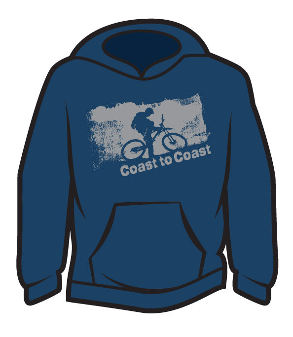 Dark Blue Coast to Coast biker Hoodie