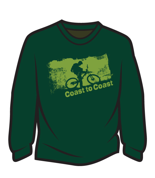 Dark Green Coast to Coast biker Long Sleeve T-Shirt