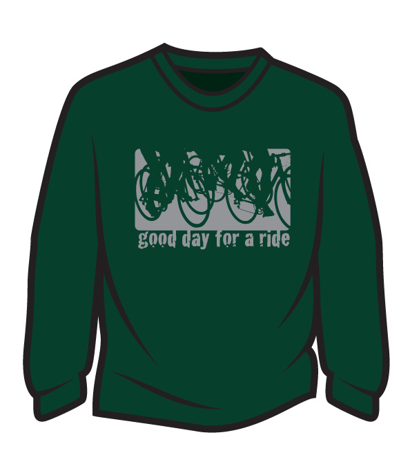 Dark Green Good day for a ride Long Sleeve T-Shirt