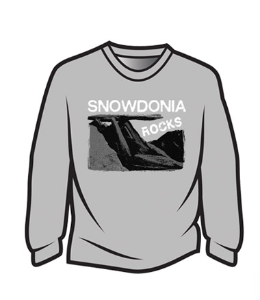 Light Grey Snowdonia Rocks Long Sleeve T-Shirt